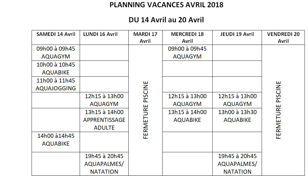 PLANNING VACANCES PAQUES 2018